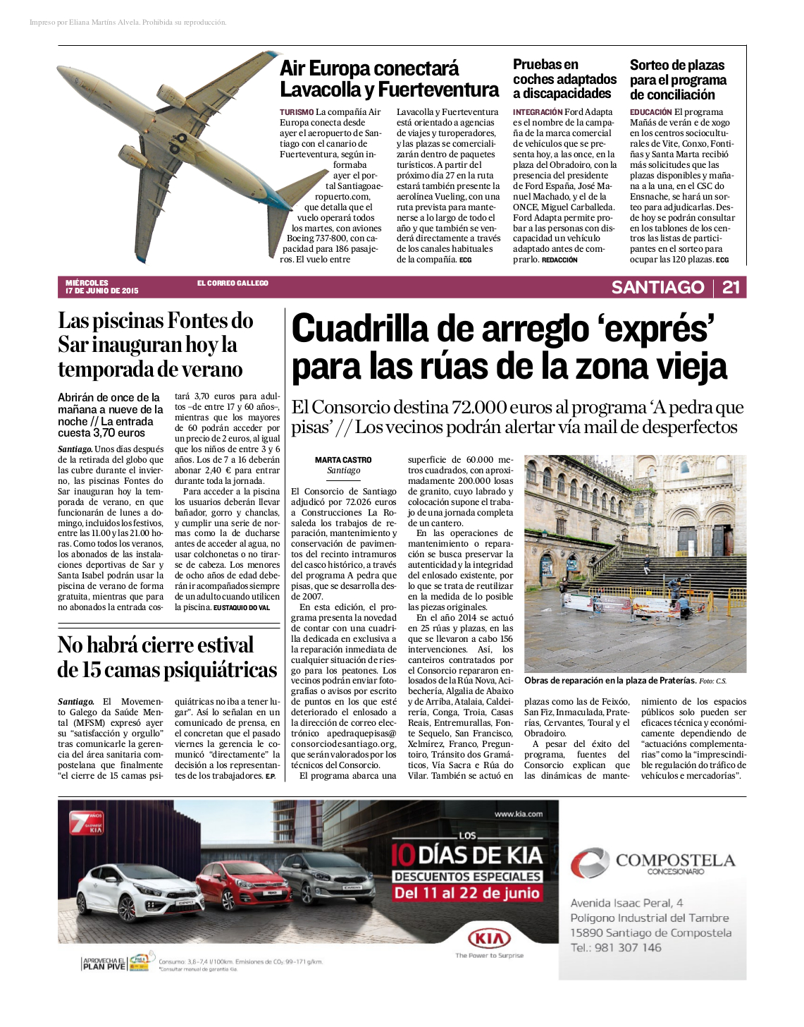 El Correo Gallego: Non haberá peche de camas estival