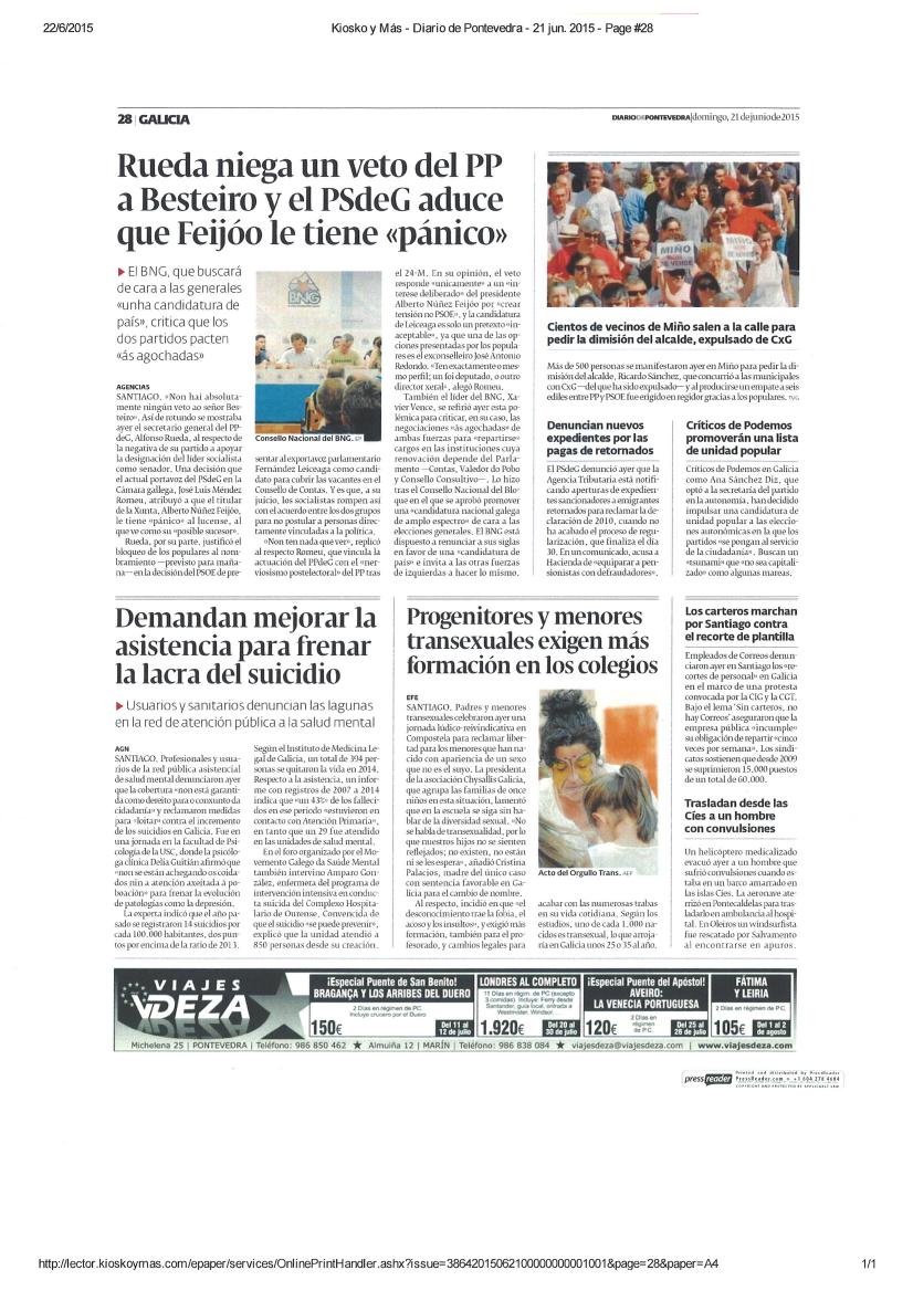 Diario de Pontevedra: O MGSM reclama máis medios para loitar contra o suicidio