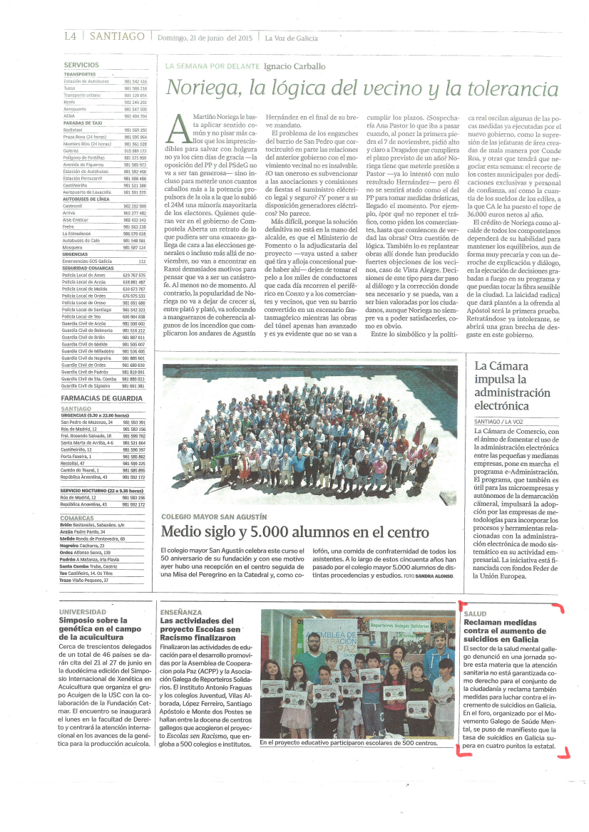 La Voz de Galicia: reclaman medidas na loita contra o suicidio