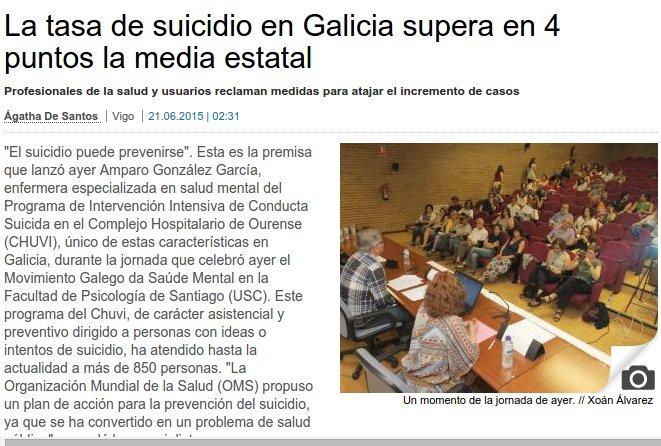 Faro de Vigo. Amparo González: O suicidio pode previrse