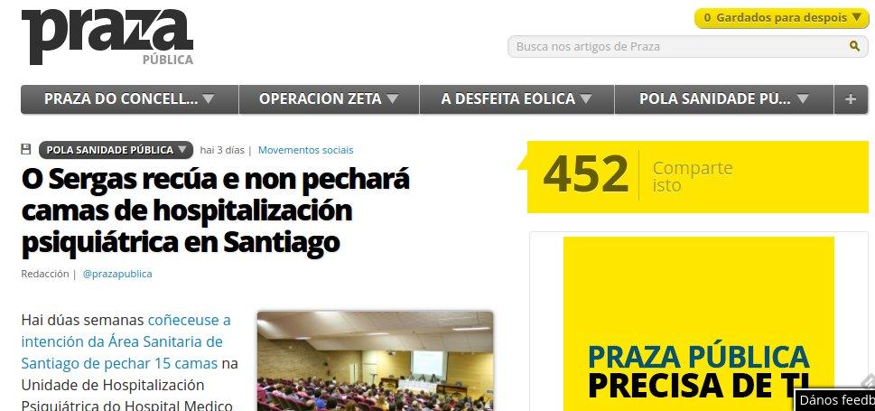 Praza Pública: O Sergas recúa e non pechará camas de hospitalización psiquiátrica en Santiago