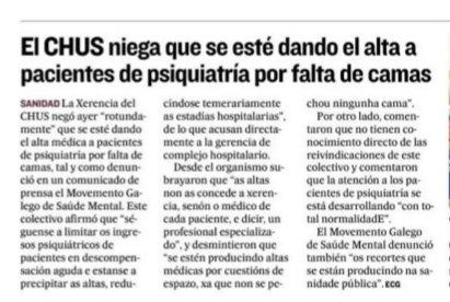 El Correo Gallego: o CHUS nega que se estean a dar altas de Psiquiatría por falta de camas