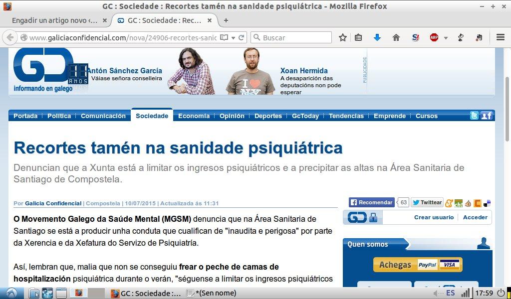 Galicia Confidencial: recortes tamén na sanidade psiquiátrica