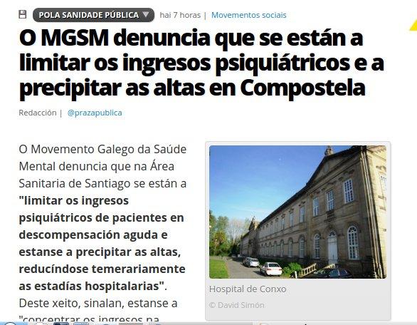 Praza Pública: O MGSM denuncia que se están a limitar os ingresos psiquiátricos e a precipitar as altas en Compostela