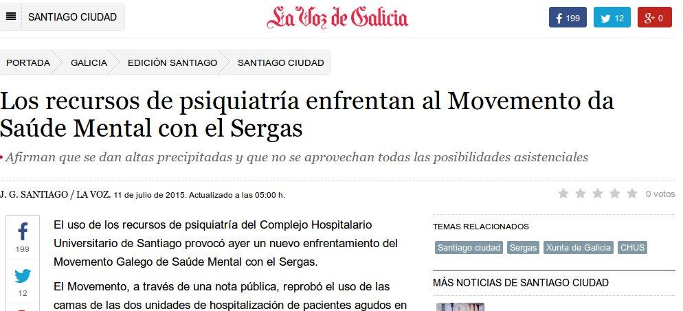 La Voz de Galicia: os recursos de Psiquiatría enfrentan ao MGSM co Sergas