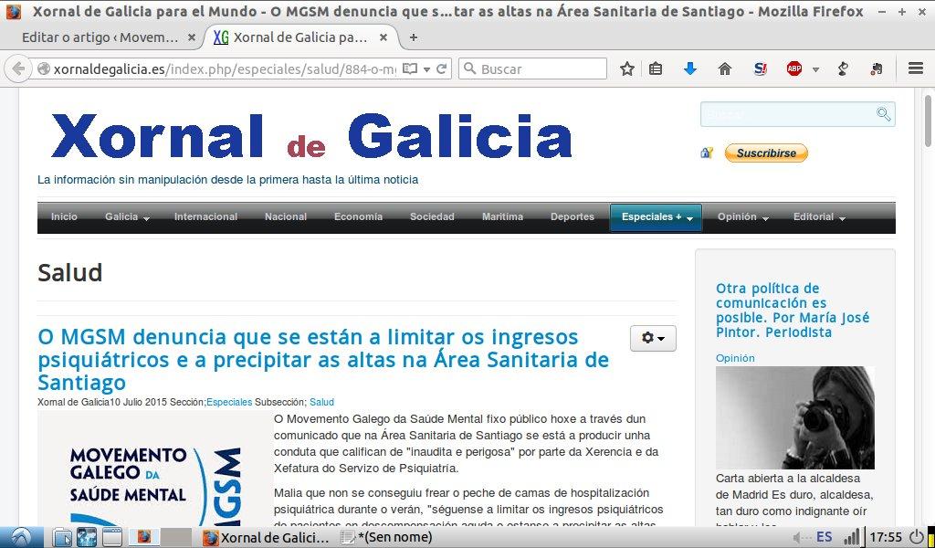 Xornal de Galicia: o MGSM denuncia limitación de ingresos e precipitación de altas en Santiago