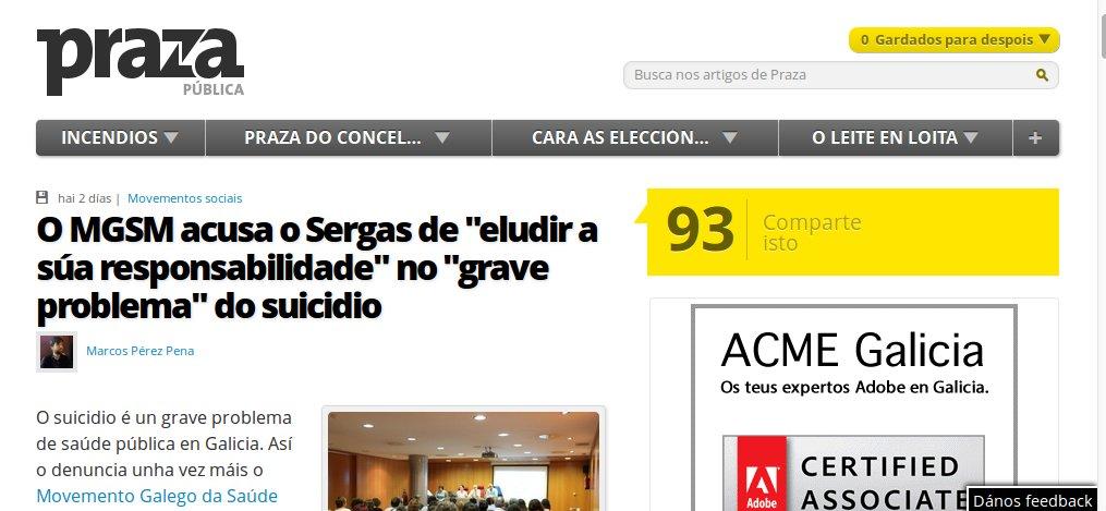 "Praza Pública: O MGSM acusa o Sergas de ""eludir a súa responsabilidade"" no ""grave problema"" do suicidio"