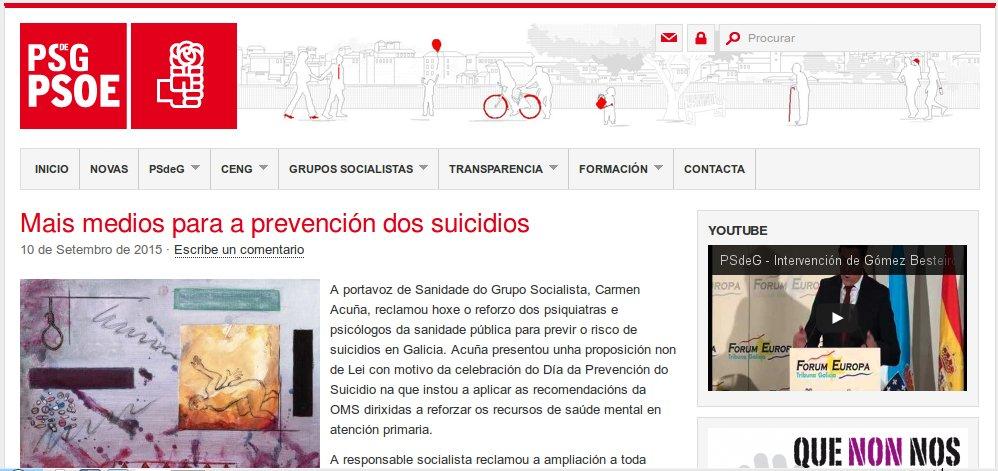 Proposición non de lei do grupo parlamentar do PSdeG no Día Mundial da Prevención do Suicidio