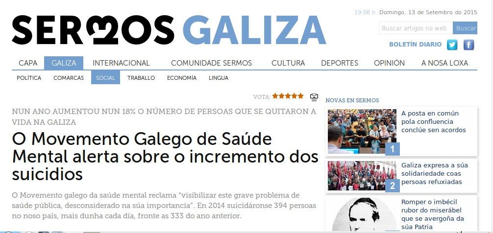 Sermos Galiza: O Movemento Galego de Saúde Mental alerta sobre o incremento dos suicidios