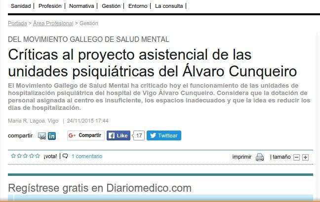 Diario Médico: Críticas do MGSM ao proxecto asistencial das unidades psiquiátricas do Álvaro Cunqueiro