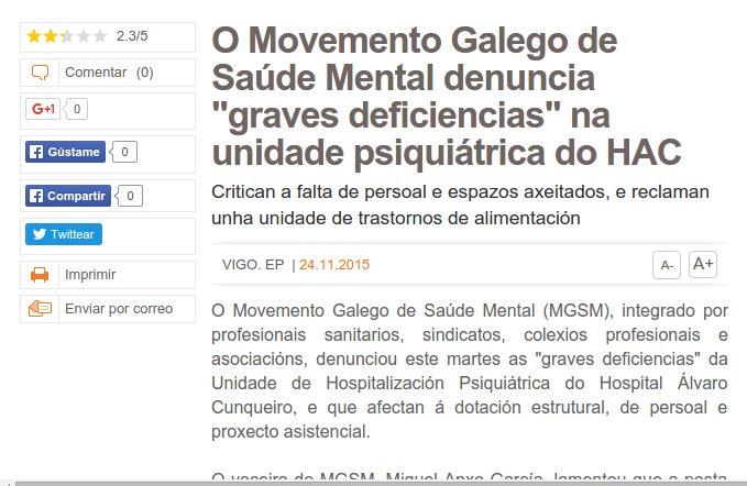 """Galicia Hoxe: O Movemento Galego de Saúde Mental denuncia """"graves deficiencias"""" na unidade psiquiátrica do HAC"""