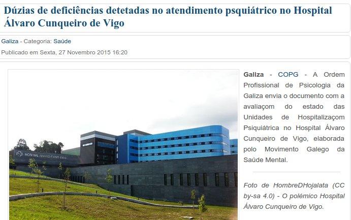 Diario Liberdade: Dúzias de deficiências detetadas no atendimento psquiátrico no Hospital Álvaro Cunqueiro de Vigo