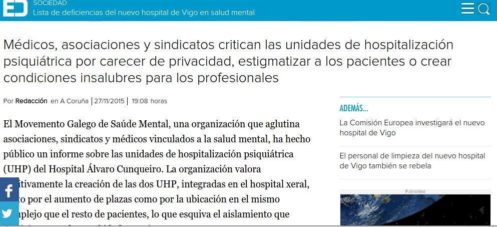 Economía digital: Lista de deficiencias do novo hospital de Vigo en Saúde Mental