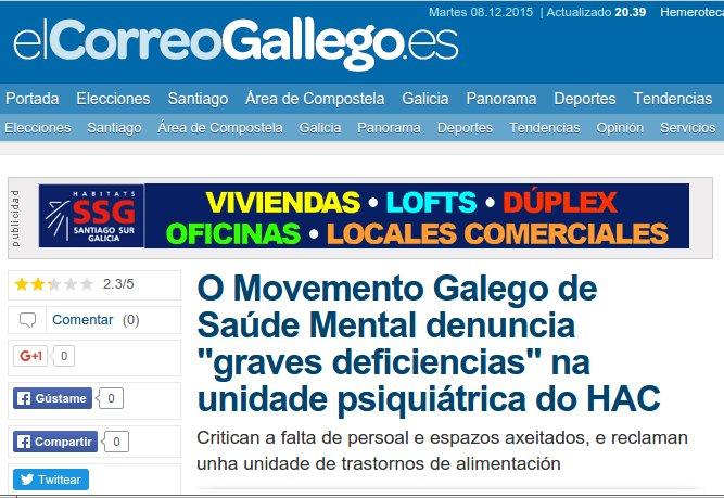 """El Correo Gallego: O MGSM denuncia """"graves deficiencias"""" na planta de Psiquiatría do HAC"""