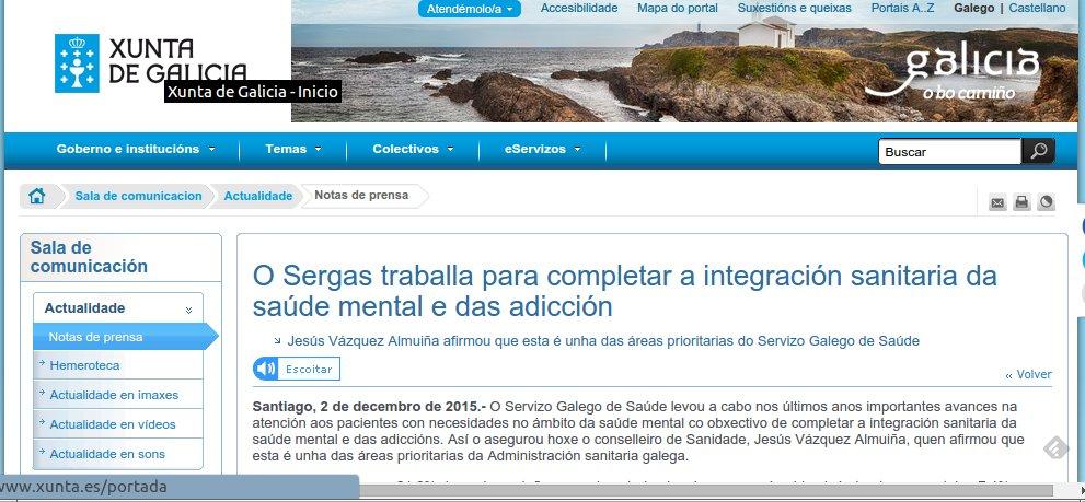 """Nota de Prensa da Xunta de Galicia: """"O Sergas traballa para completar a integración sanitaria da saúde mental e das adicción""""."""
