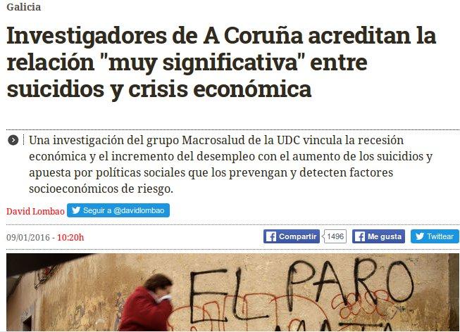 """El Diario: investigadores da Coruña acreditan unha relación """"moi significativa"""" entre crise e suicidios."""
