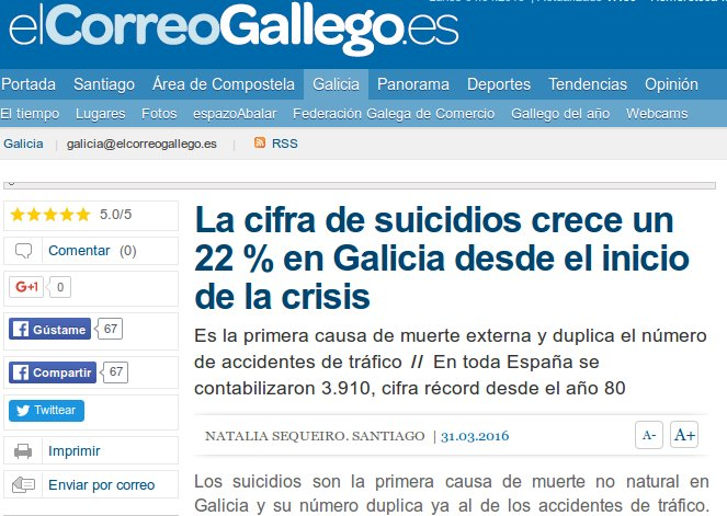 El Correo Gallego: A cifra de suicidios crece un 22 % en Galiza dende o inicio da crise