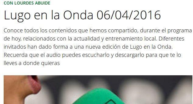 Entrevista en Onda Cero Lugo a Alberte Araúxo