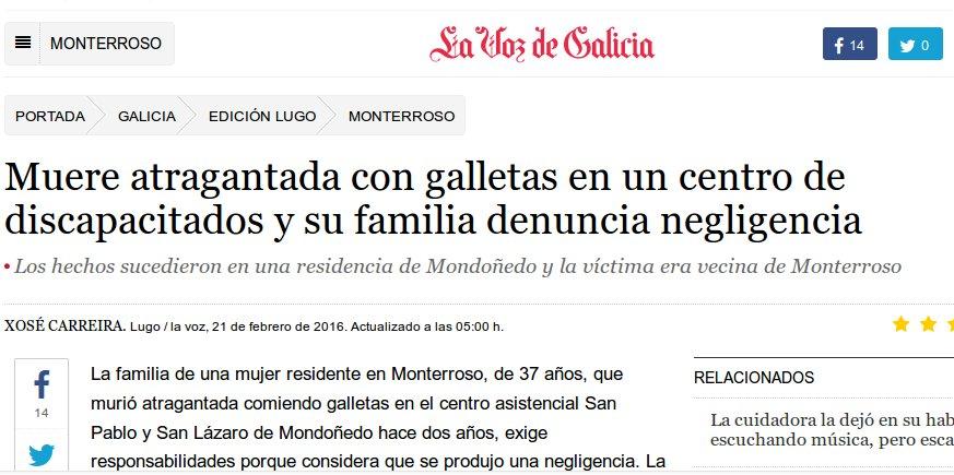 La Voz de Galicia: morre atragoada usuaria dunha residencia