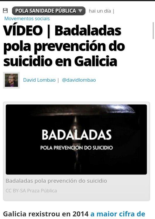 Praza Pública: VÍDEO Badaladas pola prevención do suicidio en Galicia