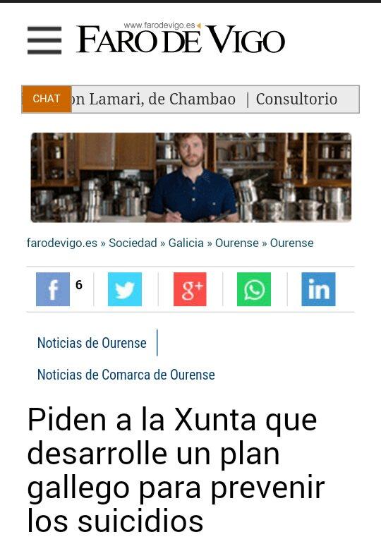 Faro de Vigo: Piden á xunta que desenvolva un plan galego de prevención do suicidio