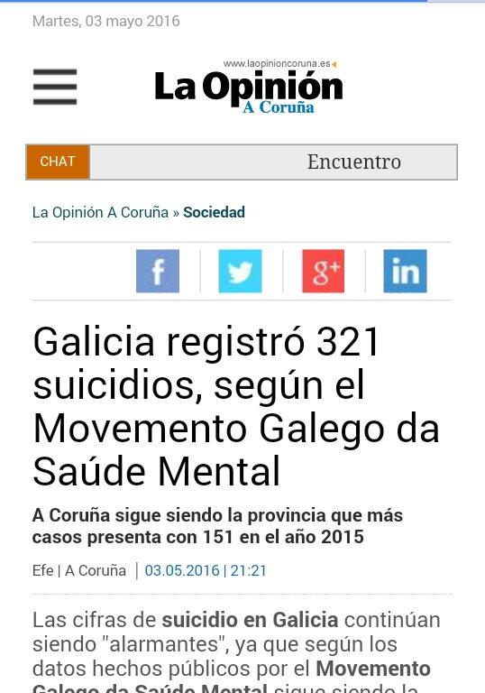 La Opinión: Galicia rexistrou 321 suicidios, segundo o MGSM