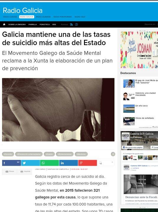 Radio Galicia: Galicia mantén as taxas de suicidio máis altas do estado