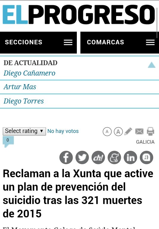 El Progreso: reclaman á Xunta un plan de prevención do suicidio