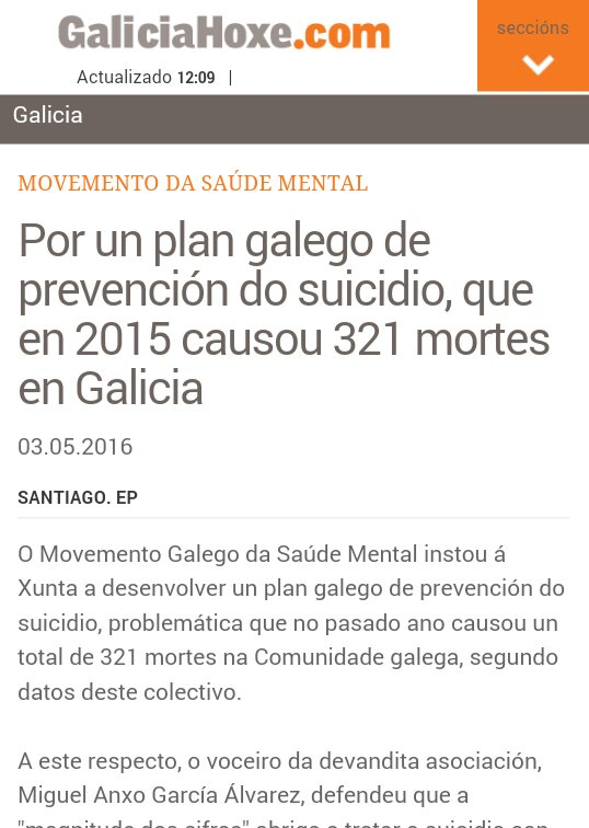 Galicia Hoxe: por un plan galego de prevención do suicidio