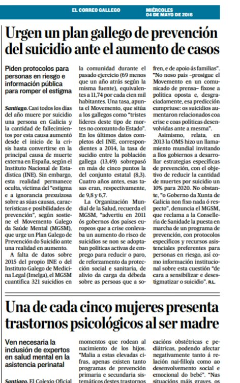El Correo Gallego: urxe un plan galego de prevención do suicidio