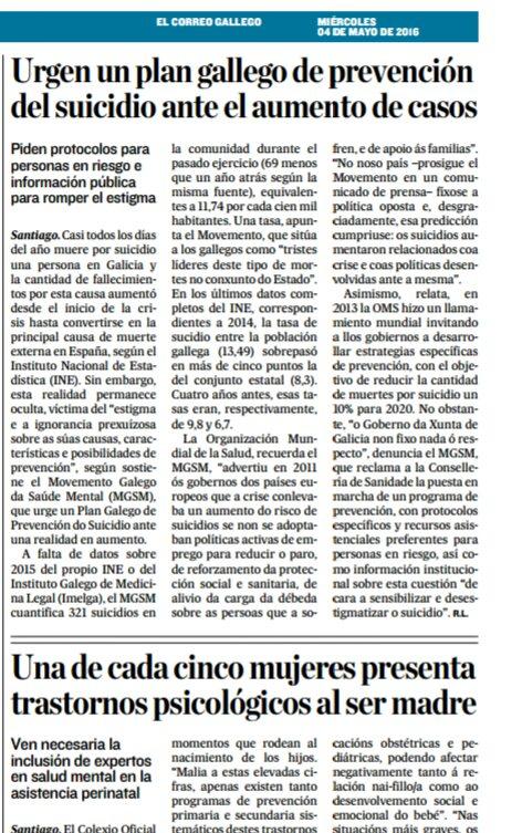 El Correo Gallego: urxe un plan galego de prevención do suicidio