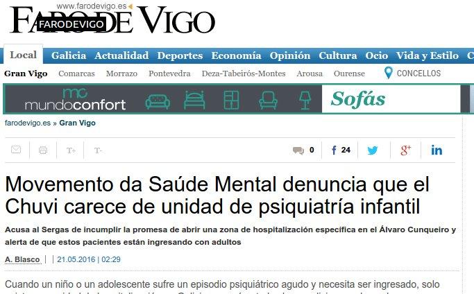 Faro de Vigo: o MGSM denuncia que o CHUVI carece de unidade de psiquiatría infantil