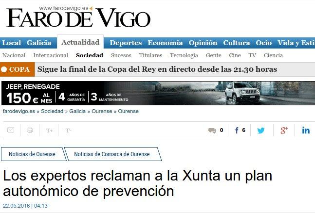 Faro de Vigo: expertos reclaman á Xunta un plan de prevención do suicidio