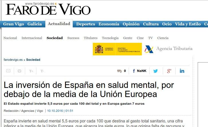 Faro de Vigo: a inversión de España en Saúde Mental sitúase por debaixo da media da UE