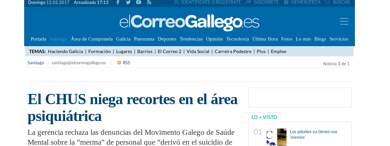 El Correo Gallego: O CHUS nega recortes en Psiquiatría