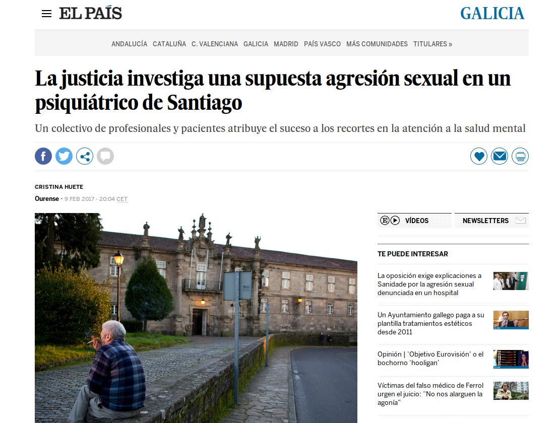 El País: a xustiza investiga unha suposta agresión sexual nun psiquiátrico de Santiago