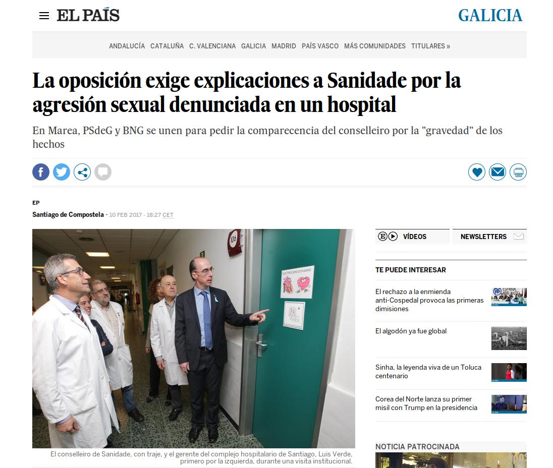 El País confunde o Psiquiátrico de Conxo coa Unidade de Hospitalización Psiquiátrica ao informar sobre a agresión e o suicidio