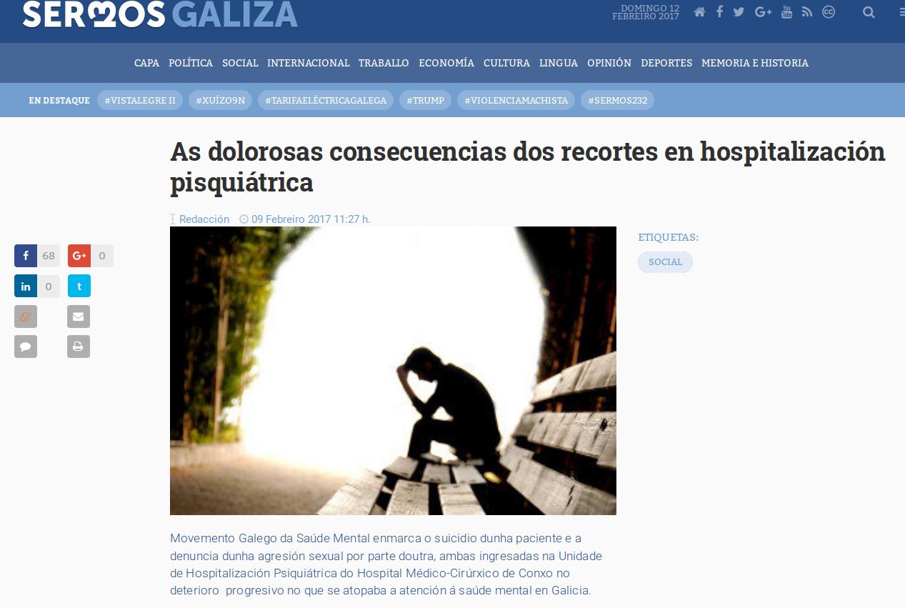 Sermos Galiza: as dolorosas consecuencias dos recortes en hospitalización psiquiátrica