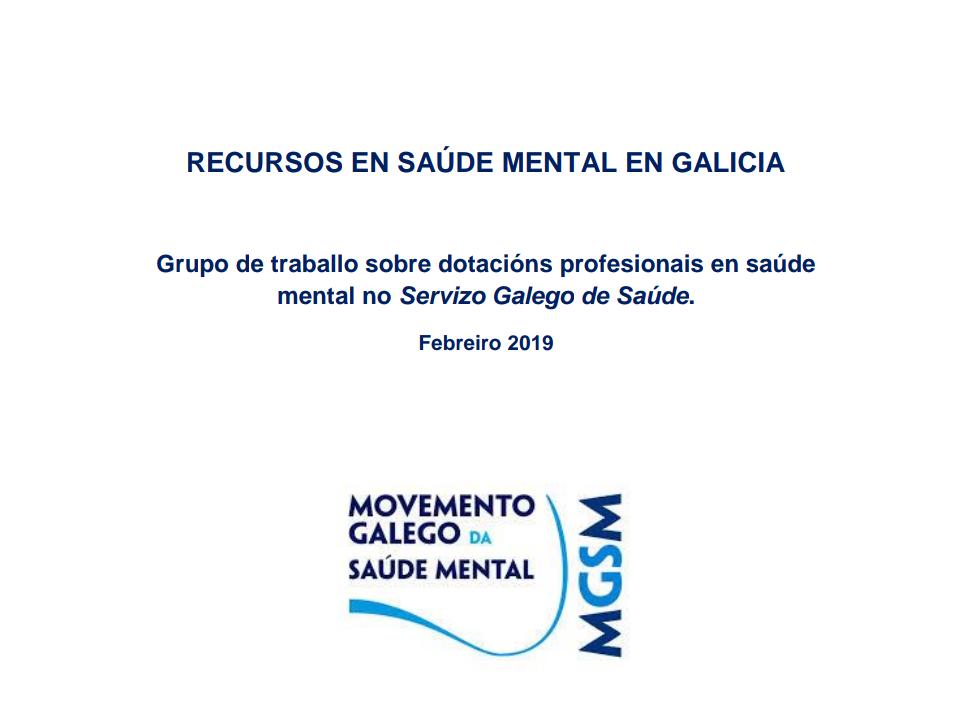 RECURSOS EN SAÚDE MENTAL NO SERVIZO GALEGO DE SAÚDE