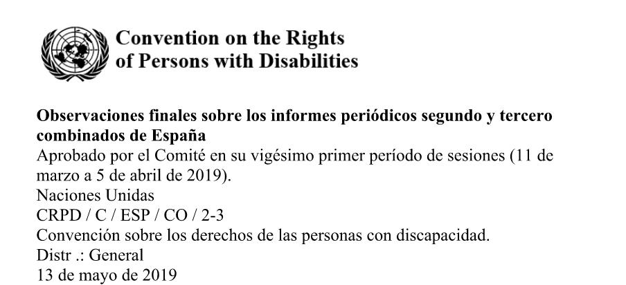 Informe da ONU: Convención sobre os dereitos da Persoas con Discapacidade