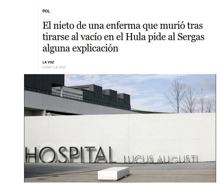 UNHA MORTE INACEPTABLE E O HULA (SERGAS) RESPONSABLE